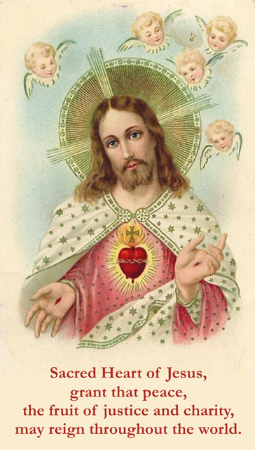 Sacred Heart - Peace, Justice & Charity Holy Card