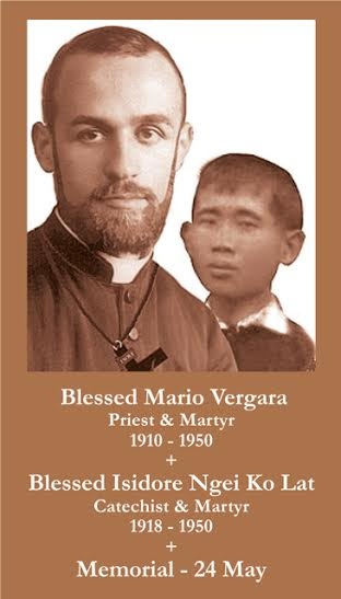 Blessed Mario Vergara and Blessed Isidore Ngei Ko Lat Prayer Card