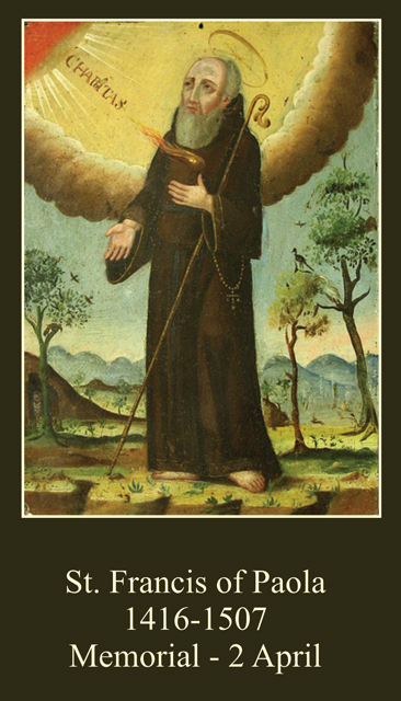 St. Francis of Paola Prayer Card