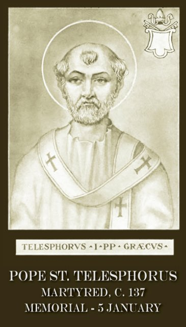 Pope St. Telesphorus Holy Card