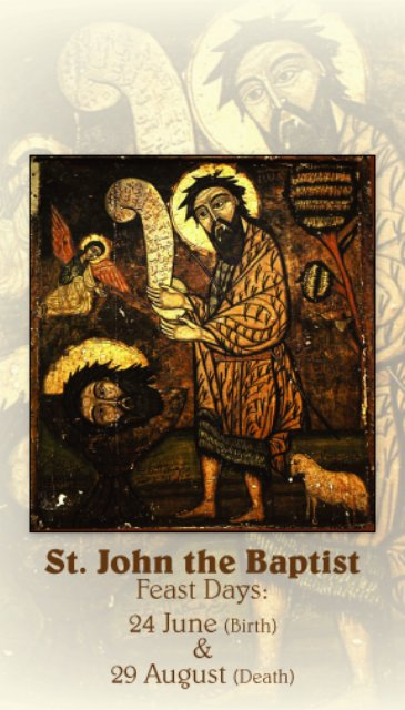 St. John the Baptist Prayer Card