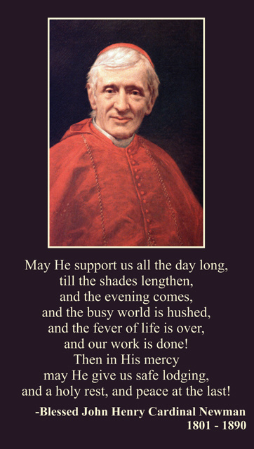 Blessed John Henry Cardinal Newman Prayer Card