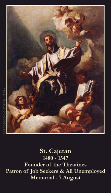 St. Cajetan Prayer for the Unemployed Card