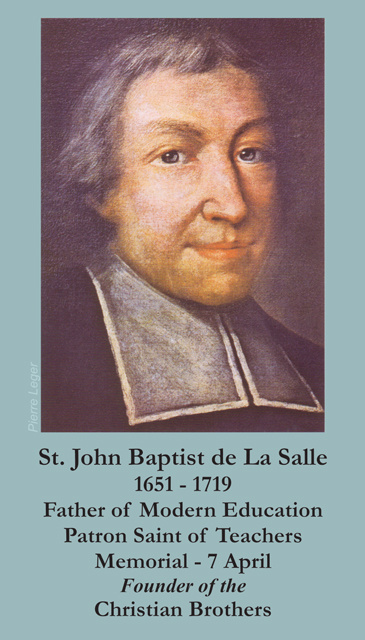 St. John Baptist de La Salle Prayer Card
