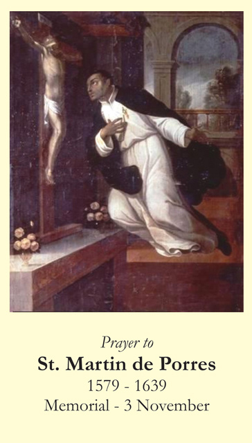 St. Martin de Porres Prayer Card
