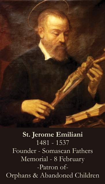 St. Jerome Emiliani Prayer Card