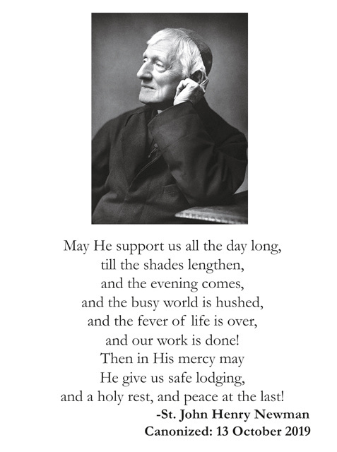 Saint John Henry Cardinal Newman Prayer Cards (LARGE)