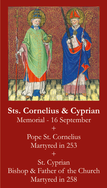 Sts. Cornelius & Cyprian Prayer Card