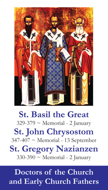 Saints Basil the Great, John Chrysostom, and Gregory Nazianzen Holy Card