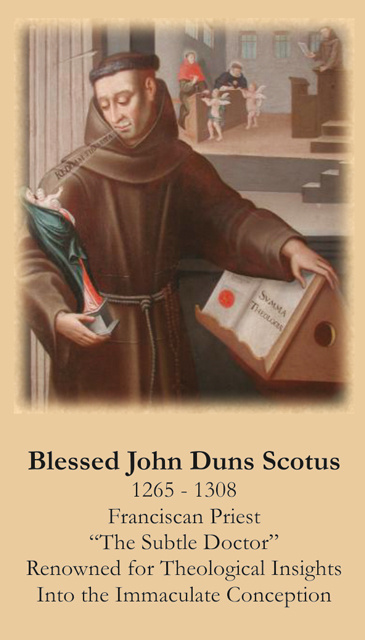 Blessed John Duns Scotus Prayer Card