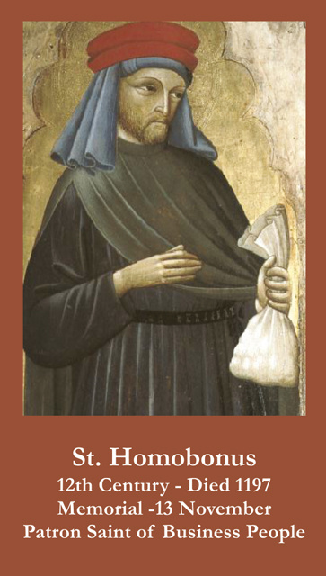 St. Homobonus Prayer Card