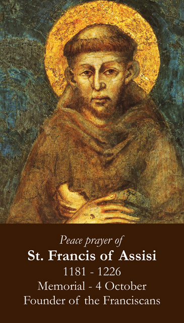 St. Francis Peace Prayer Holy Card