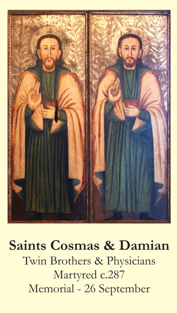 Saints Cosmas & Damian Prayer Card