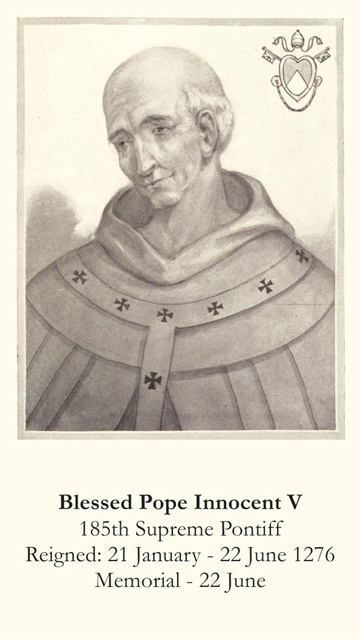 Blessed Pope Innocent V Prayer Card