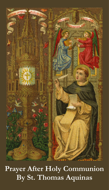 St. Thomas Aquinas Prayer After Holy Communion Card