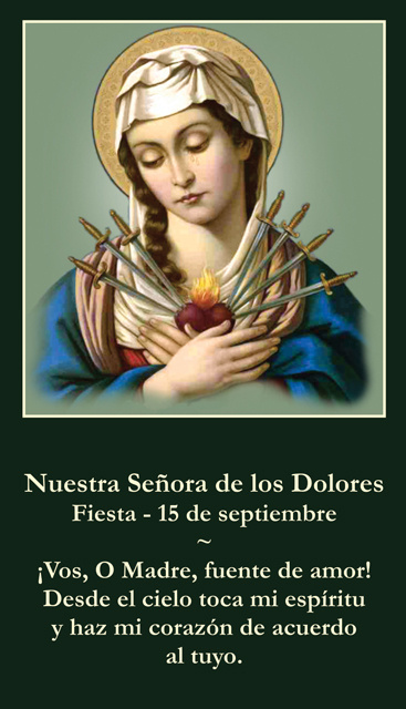 *SPANISH* Immaculate / Sorrowful Heart of Mary Holy Card